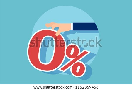 Vector of a red zero percent offered by businessman, isolated on blue background.
