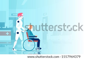 Vector of a robot assisting disabled senior man in a wheelchair in the hospital