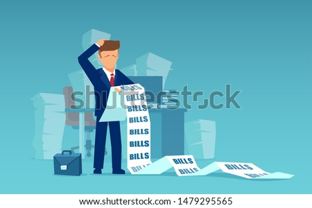 Vector of a sad business man holding a long list of financial bills feels worried about paying a lot of money.