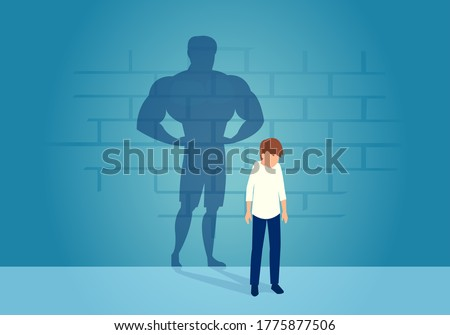 Vector of a sad weak man teenager standing depressed in front of a wall with his strong shadow of himself Сток-фото ©