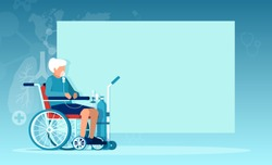 Vector of a senior woman with chronic obstructive pulmonary disease sitting in a wheelchair receiving oxygen therapy