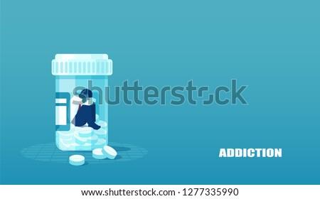 vector of a sick sad patient