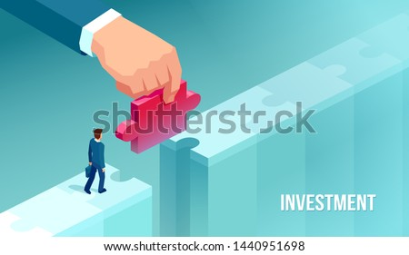 Vector of a small businessman supported by unknown investor giving him opportunity making bridge with jigsaw puzzle