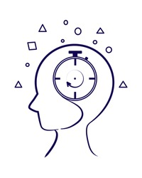 Vector of a stopwatch inside someones head showing time passing