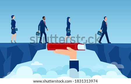 Vector of a teacher hand holding a book bridging the gap in education for a group of people walking on