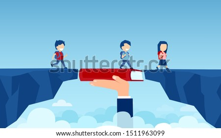 Vector of a teacher hand holding a book bridging the gap in primary education for children passing by