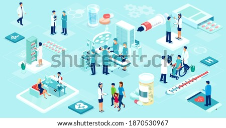 Vector of a team of doctors and nurses taking care of the patients inside the hospital and remotely via mobile app
