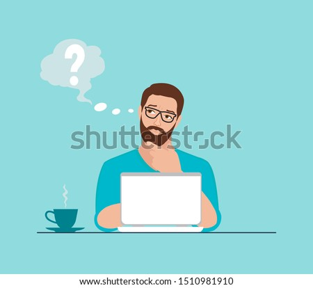Vector of a thoughtful young man working on laptop at workplace having some questions