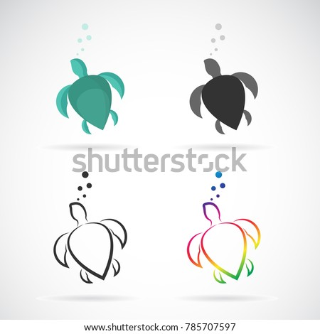 Vector of a turtle design on white background. Reptile. Animals. Easy editable layered vector illustration.