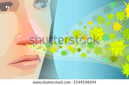 Vector of a young woman inhaling pollen, dust or hay fever allergens  Stock photo ©