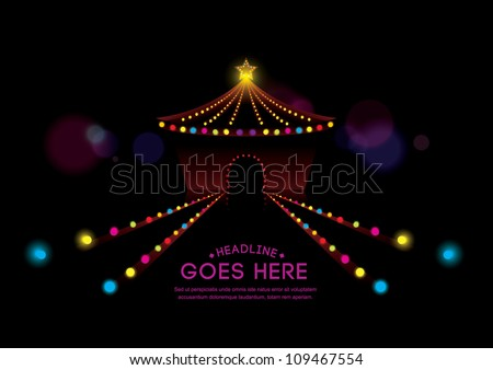vector of abstract background of circus and neon lights