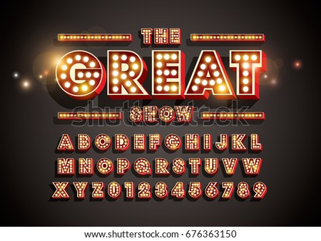 Vector of abstract font and alphabet with bright light bulbs