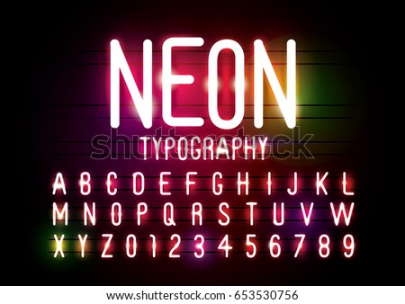 Vector of abstract neon font and alphabet