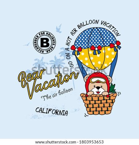 vector of air balloon bear, vacation of the bear, animal, cute bear, unique bear for t shirt