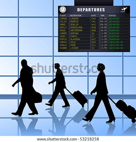 Vector of airline passengers with luggage walking past a flight departures information board. JPG and TIFF image versions of this vector illustration are also available in my portfolio.