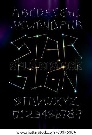 vector of alphabets in zodiac star sign shape