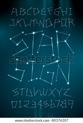 vector of alphabets in zodiac star sign shape - stock vector