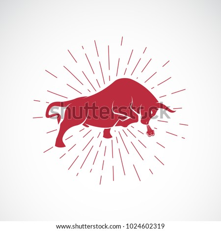 Vector of an angry bull on white background. Animal. Bull symbol. Vector illustration for advertising and T-shirt graphics. Easy editable layered vector illustration.