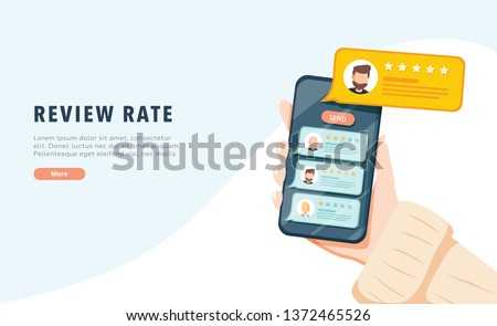 Vector of an online application on mobile phone to rate and review customer service, product or experience. App reviews service. Client choose negative and positive reactions. Rating report, marketing