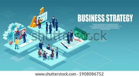 Vector of an open space office with business people working as a team to provide best customer service  Photo stock ©