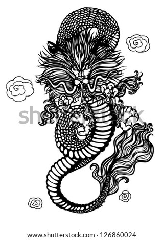 Vector of Ancient Chinese Dragon Pattern. Black Dragon isolated on White background. Vector illustration.eps10 - stock vector