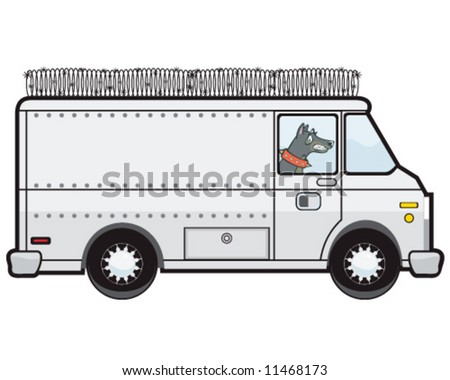 vector of armored transport van with guard dog inside and razor wire on top