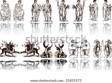 Vector of Artistic Rome and Egypt Pattern