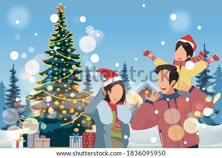 vector of asian family with one