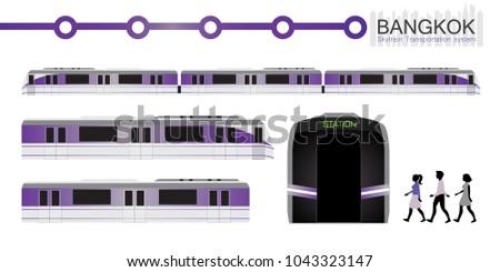 vector of bangkok sky train in