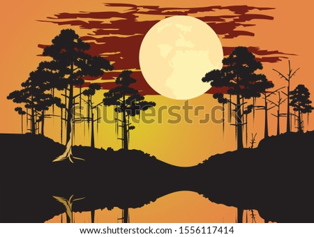 vector of bayou swamp theme landscape eps format Stok fotoğraf ©