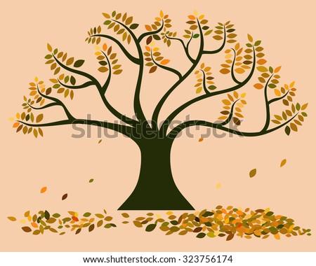 vector of big tree in autumn