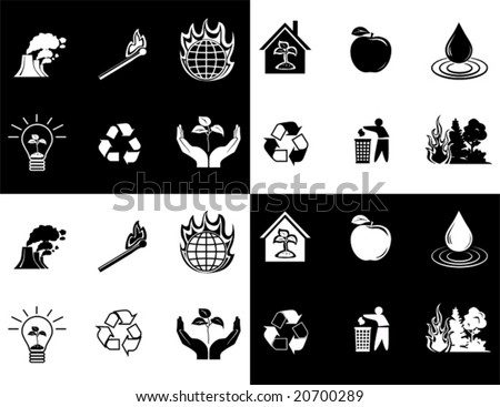 vector of black and white icon set of global warming - stock vector