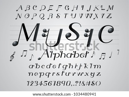vector of black color music note font and alphabet