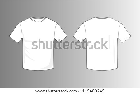 Vector Of Blank White Men T Shirt Template For Mock Up