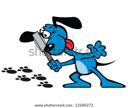 vector of blue dog detective with magnifying glass, checking tracks