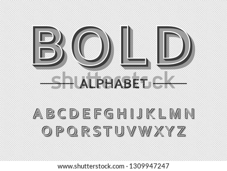 Vector of bold modern font and alphabet #1309947247