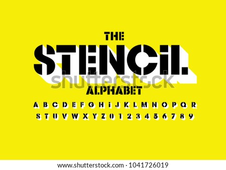 Vector of bold stencil font and alphabet