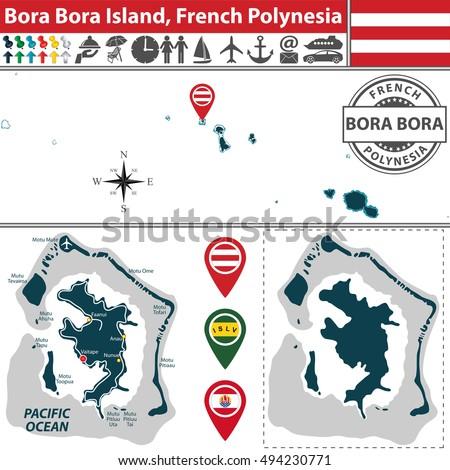 vector of bora bora island in