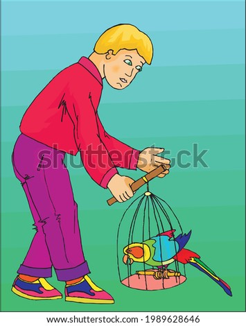 vector of boy with bird in cage