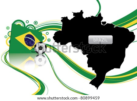 vector of Brazil about soccer contain map, flag and soccer ball
