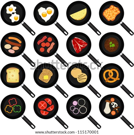 Vector of breakfast Ingredients, fried food in Non stick Frying Pans, Skillets, fried egg, omelet. A set of cute and colorful icon collection isolated on white background