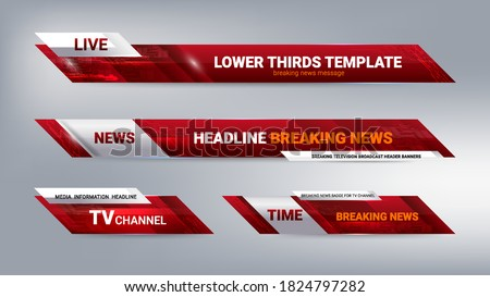 Vector of Broadcast News Lower Thirds Template for Television, Video and Media Channel Foto d'archivio ©