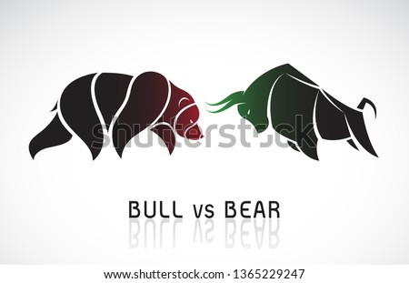 Vector of bull and bear symbols of stock market trends. Stock market and business concept. The growing and falling market. Wild Animals. Foto stock ©