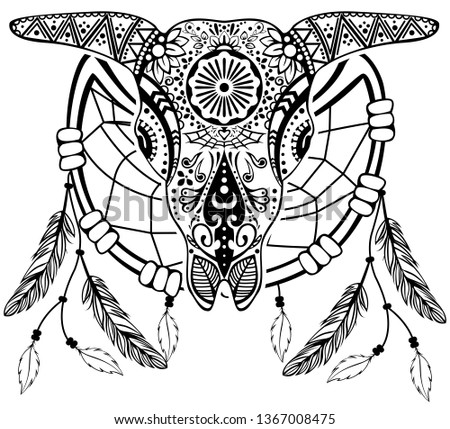 77960cb97 Vector of bull scull with dream catcher in tribal tattoo style -  Shutterstock ID 1367008475