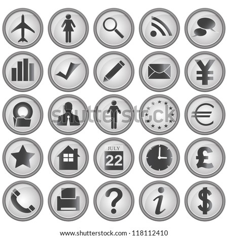 Vector of 25 business icons in gray borders on white background