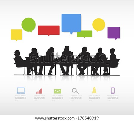 Vector of Business Meeting and Speech Bubbles