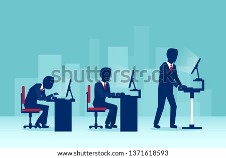 Vector of business men working on computers in the office in different sitting positions one of them using a standing desk