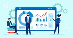 Vector of business people business analytics team monitoring financial reports and investments