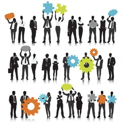 Vector of Business People Holding Gears and Speech Bubbles