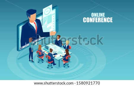 Vector of business people meeting in a office having conference call with a presenter. Online seminar, internet learning concept